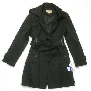 Michael Kors Womens XL Trench Raincoat Black NWT